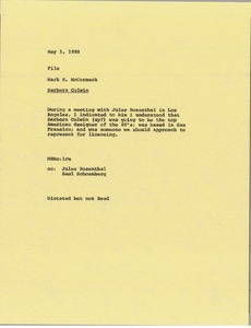 Thumbnail of Memorandum from Mark H. McCormack to Barbara Colwin file