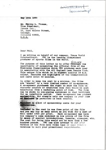 Thumbnail of Letter from Mark H. McCormack to Philip L. Thomas