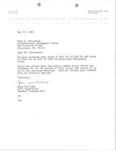 Thumbnail of Letter from Jean Williams to Mark H. McCormack