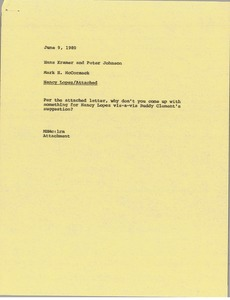 Thumbnail of Memorandum from Mark H. McCormack to Hans Kramer and Peter Johnson