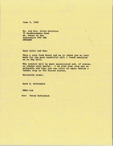 Thumbnail of Letter from Mark H. McCormack to Colin and Nan MacLaine
