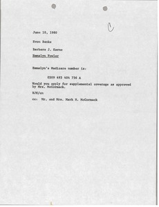 Thumbnail of Memorandum from Barbara J. Kernc to Evon Banks