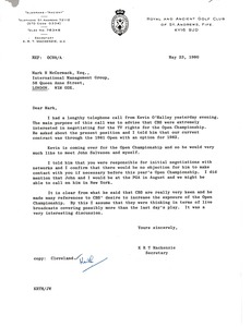 Thumbnail of Letter from Keith MacKenzie to Mark H. McCormack