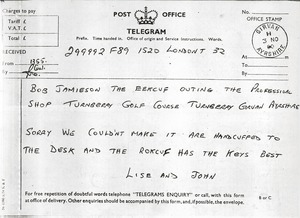Thumbnail of Telegram from Lise and John to Robert S. Jamieson