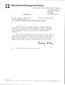 Thumbnail of Memorandum from Richard Avory to Mark H. McCormack
