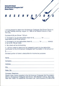 Thumbnail of All-American Collegiate Golf Foundation reservation card