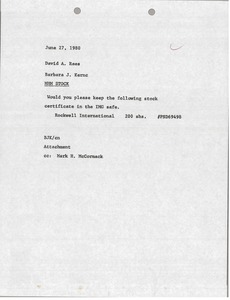 Thumbnail of Memorandum from Barbara J. Kernc to David A. Rees