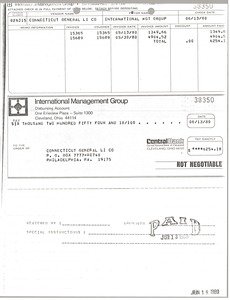 Thumbnail of Check from International Management Group to Connecticut General Life Insurance             Company