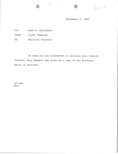 Thumbnail of Memorandum Clyde Comstock to Mark H. McCormack