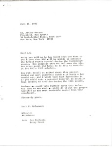 Thumbnail of Letter from Mark H. McCormack to Arthur Watson