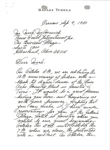 Thumbnail of Letter from Rafael Tudela to Mark H. McCormack