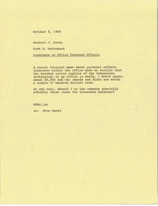 Thumbnail of Memorandum from Mark H. McCormack to Barbara Kernc