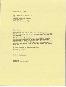 Thumbnail of Letter from Mark H. McCormack to Russell W. Meyer Jr.