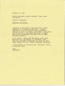 Thumbnail of Memorandum from Judy Chilcote to Laurie Hentschel