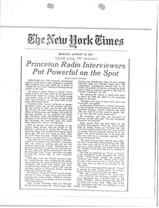 Thumbnail of Princeton radio interviewers put powerful on the spot
