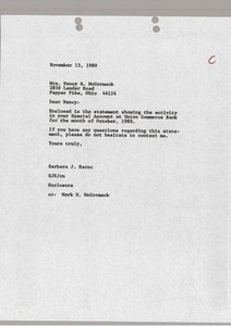 Thumbnail of Letter from Barbara J. Kernc to Nancy B. McCormack