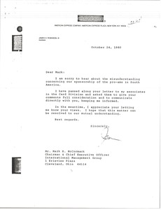 Thumbnail of Letter from James D. Robinson to Mark H. McCormack