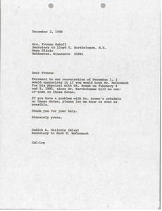 Thumbnail of Memorandum from Judy A. Chilcote to Yvonne Ruhoff