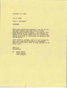 Thumbnail of Memorandum from Mark H. McCormack to Ian T. Todd