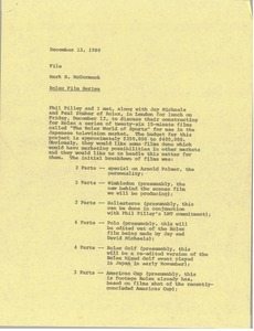 Thumbnail of Memorandum from Mark H. McCormack concerning the Rolex film series