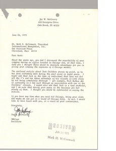 Thumbnail of Letter from Jay W. McGreevy to Mark H. McCormack