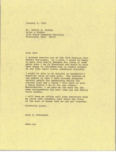 Thumbnail of Letter from Mark H. McCormack to Robert G. Markey