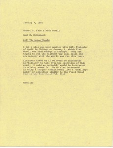 Thumbnail of Memorandum from Mark H. McCormack to Robert D. Kain and Alan Morell