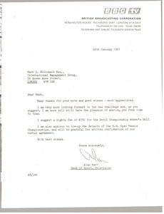 Thumbnail of Letter from Alan Hart to Mark H. McCormack