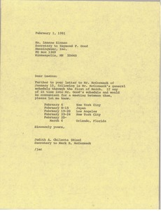 Thumbnail of Letter from Judith A. Chilcote to Luanne Kinnen