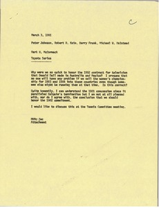 Thumbnail of Memorandum from Mark H. McCormack to Peter Johnson, Robert D. Kain, Barry Frank             and Michael W. Halstead