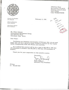 Thumbnail of Letter from Jerry Diamond to Peter Johnson