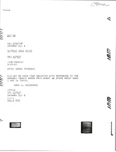 Thumbnail of Telex prinotuts from Mark H. McCormack to Masao Tatewaki