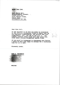 Thumbnail of Letter from Mark H. McCormack to Janice Hall