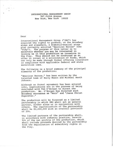 Thumbnail of Letter from International Management Group to an unidentified recipient