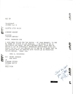 Thumbnail of Telex from Mark H. McCormack to Masahiro Soe