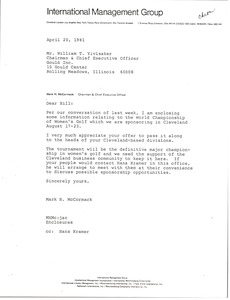 Thumbnail of Letter from Mark H. McCormack to William T. Ylvisaker