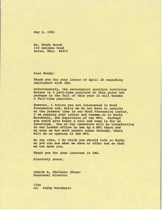 Thumbnail of Letter from Judy A. Chilcote to Wendy Marek