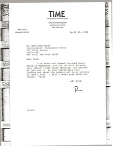 Thumbnail of Letter from Ray Cave to Mark H. McCormack