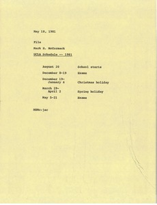 Thumbnail of Memorandum from Mark H. McCormack to University of California, Los Angeles             schedule file