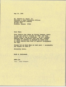 Thumbnail of Letter from Mark H. McCormack to Russ Meyer