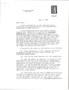 Thumbnail of Letter from Deane R. Beman to Gary Player