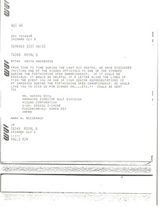 Thumbnail of Telex prinotut from Mark H. McCormack to Keith MacKenzie