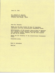 Thumbnail of Letter from Mark H. McCormack to Barbara F. Russell