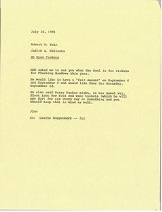 Thumbnail of Memorandum from Judy A. Chilcote to Robert D. Kain
