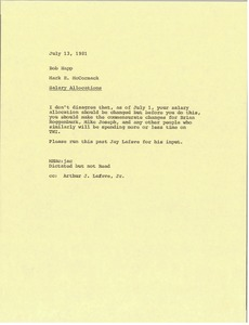 Thumbnail of Memorandum from Mark H. McCormack to Bob Happ