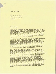 Thumbnail of Letter from Mark H. McCormack to R. A. A. Holt