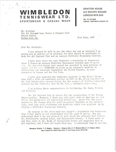 Thumbnail of Letter from T. O. Wegner to the All England Lawn Tennis and Croquet Club