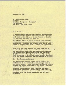 Thumbnail of Letter from Mark H. McCormack to Charles L. Brown