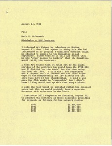 Thumbnail of Memorandum from Mark H. McCormack concerning Wimbledon and the NBC contract