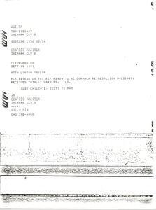 Thumbnail of Telex prinotuts from Judy A. Chilcote to Lynotn Taylor